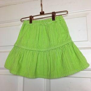 Hanna Andersson Girls Green Corduroy Skirt
